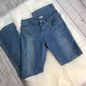 Cach'e Rhinestone Embellished Flaired Jeans